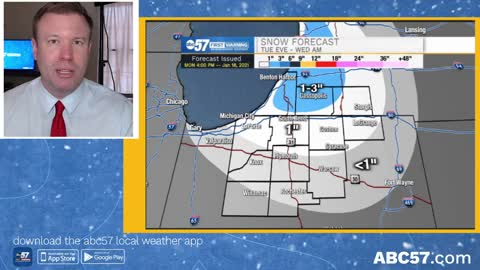 A little more wintry, light snow Tuesday evening